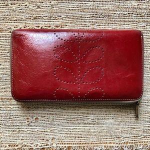 Orla Kiely • handstich stem leather zip wallet